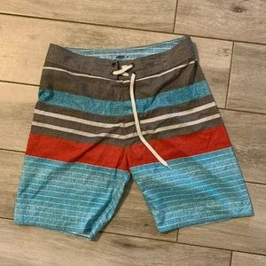 Old Navy Swim Trunks Shorts, Blue Red Gray Striped